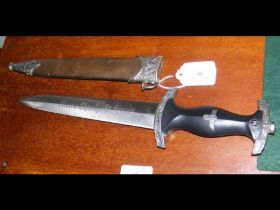 A reproduction German dagger with scabbard - 37cm