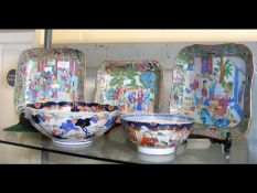 Three Famille Rose dishes together with an Imari bowl and one other