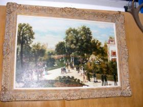 A large oil on canvas of Victorian parkland scene