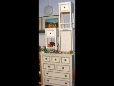 A multi drawer chest painted cream and green - wid