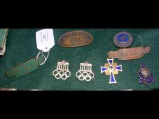 An old British Railway cap badge, 1936 Olympic bad