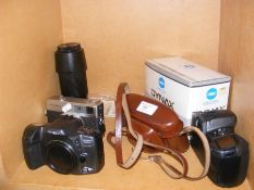 A selection of collectable cameras including Minol