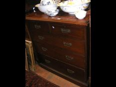 An Edwardian chest of two short and three long dra