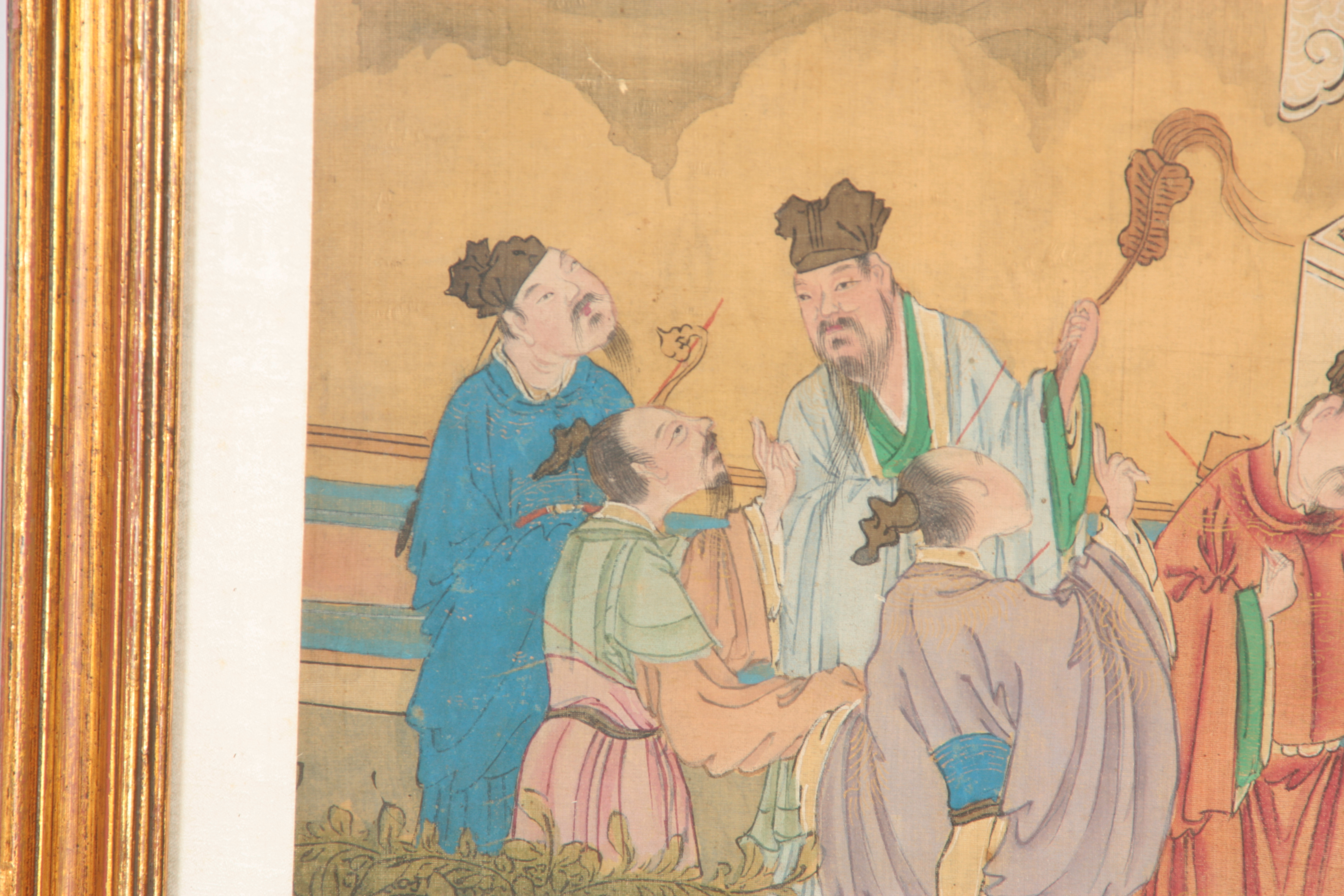 A LARGE 19TH CENTURY CHINESE PAINTED SILK PANEL finely decorated with figures and pagodas amongst - Image 4 of 9