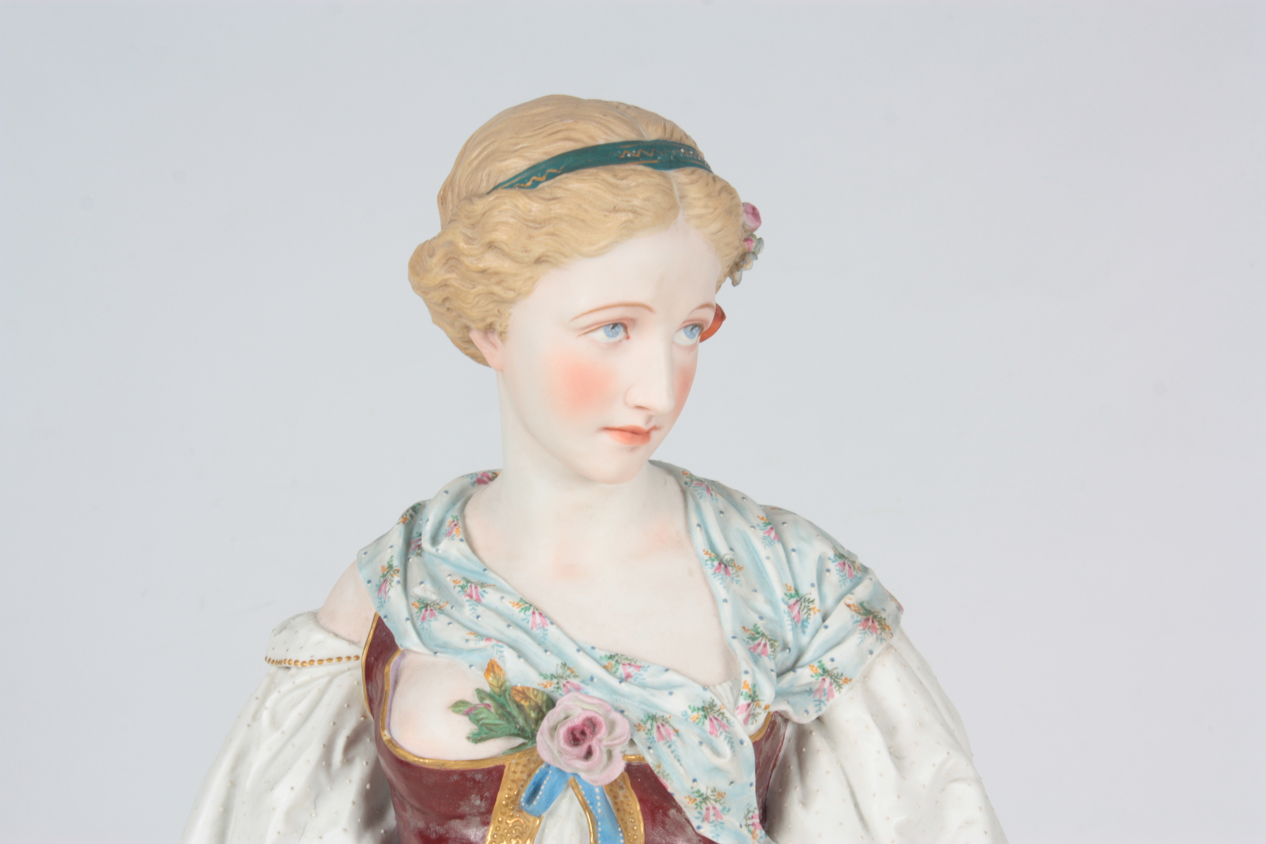 A 19TH CENTURY MASSIVE CONTINENTAL POLYCHROME STANDING BISQUE FIGURE OF A YOUNG LADY on a - Image 4 of 4