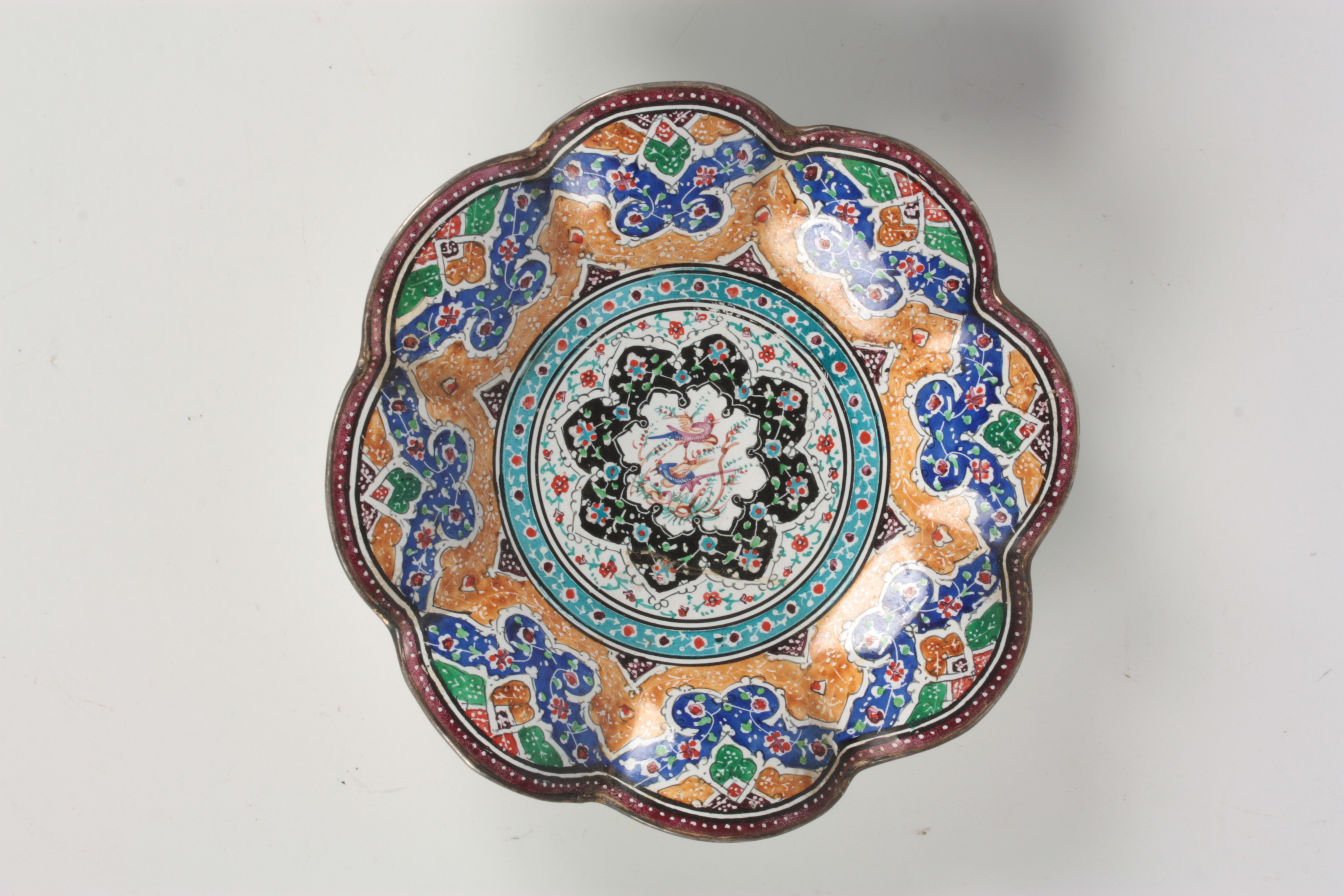TWO 19TH CENTURY ISNIC ENAMELED DISHES having scalloped edges with birds, flowers, and geometric - Image 3 of 6