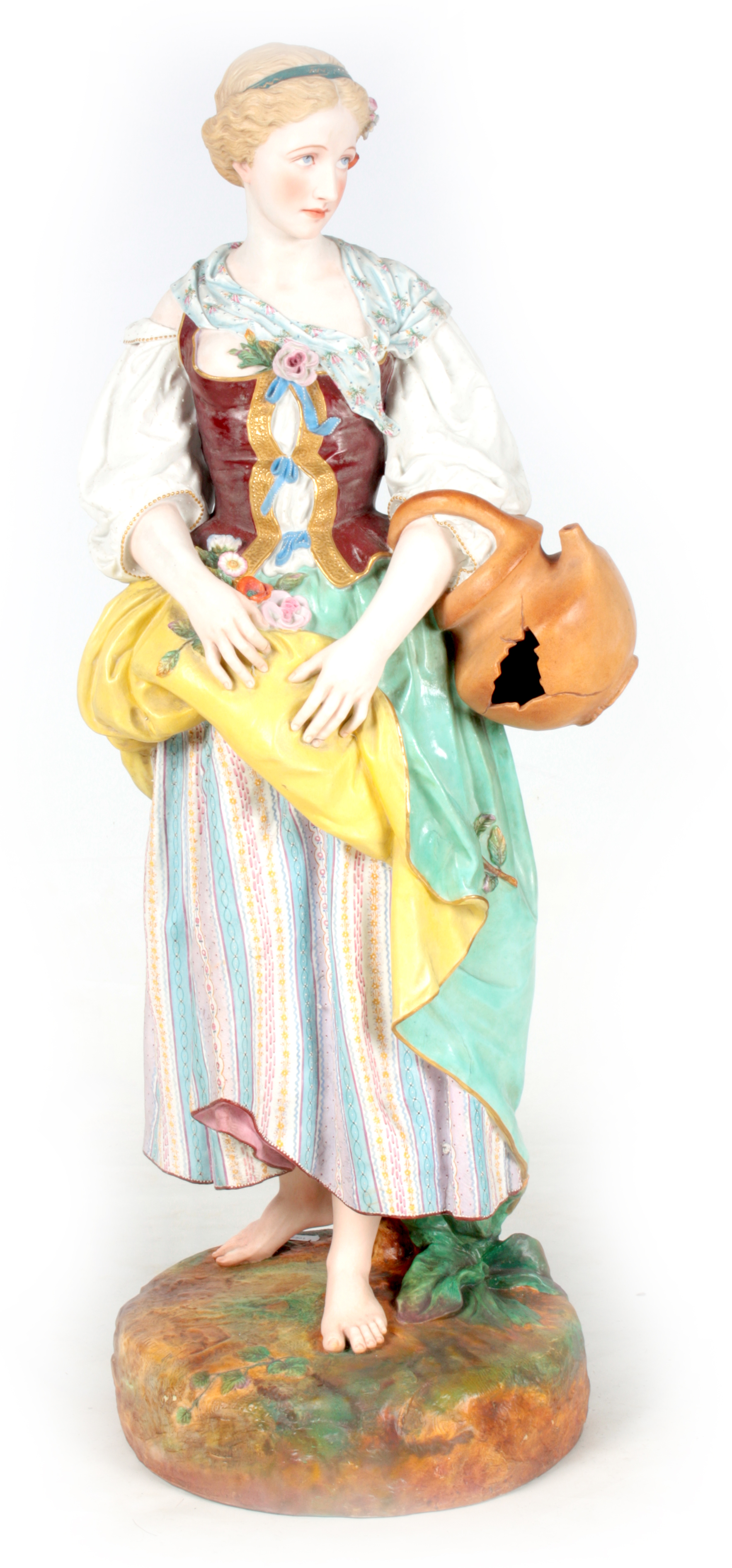 A 19TH CENTURY MASSIVE CONTINENTAL POLYCHROME STANDING BISQUE FIGURE OF A YOUNG LADY on a