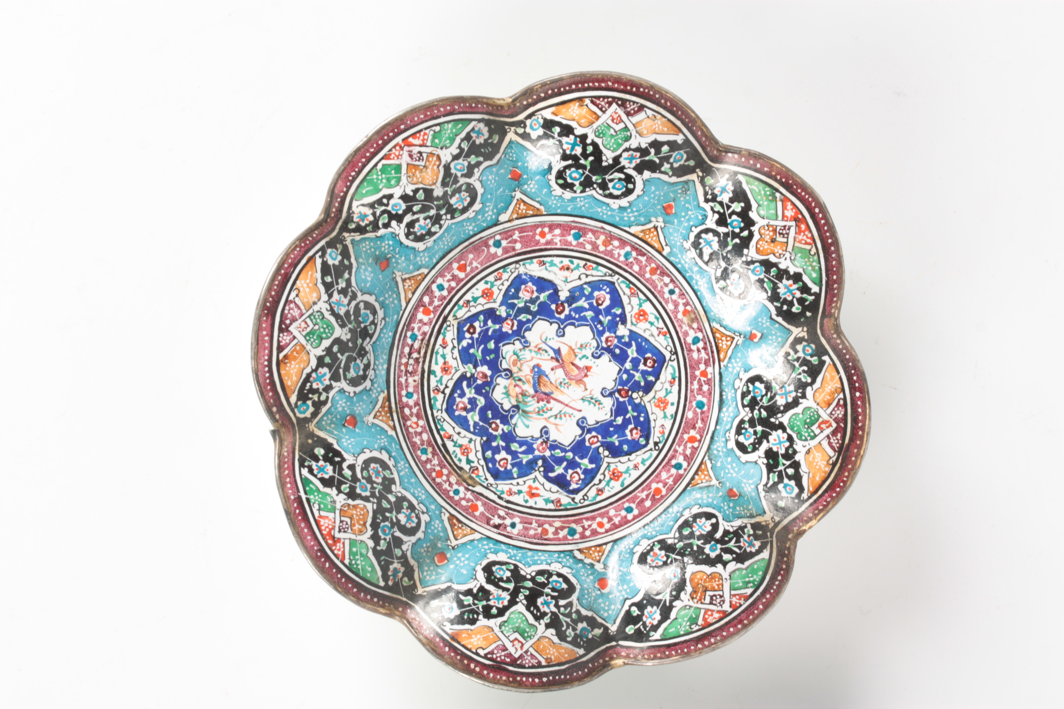 TWO 19TH CENTURY ISNIC ENAMELED DISHES having scalloped edges with birds, flowers, and geometric - Image 2 of 6