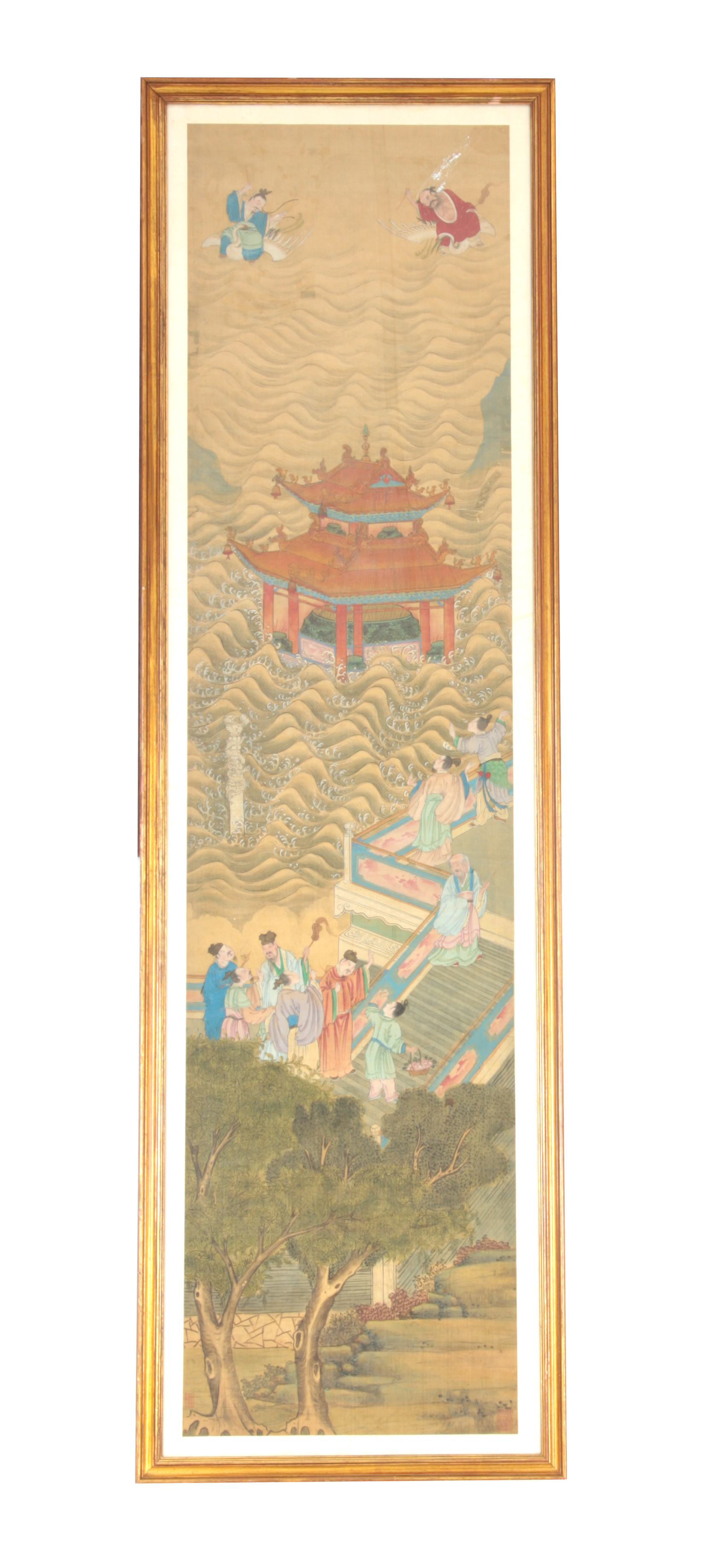A LARGE 19TH CENTURY CHINESE PAINTED SILK PANEL finely decorated with figures and pagodas amongst
