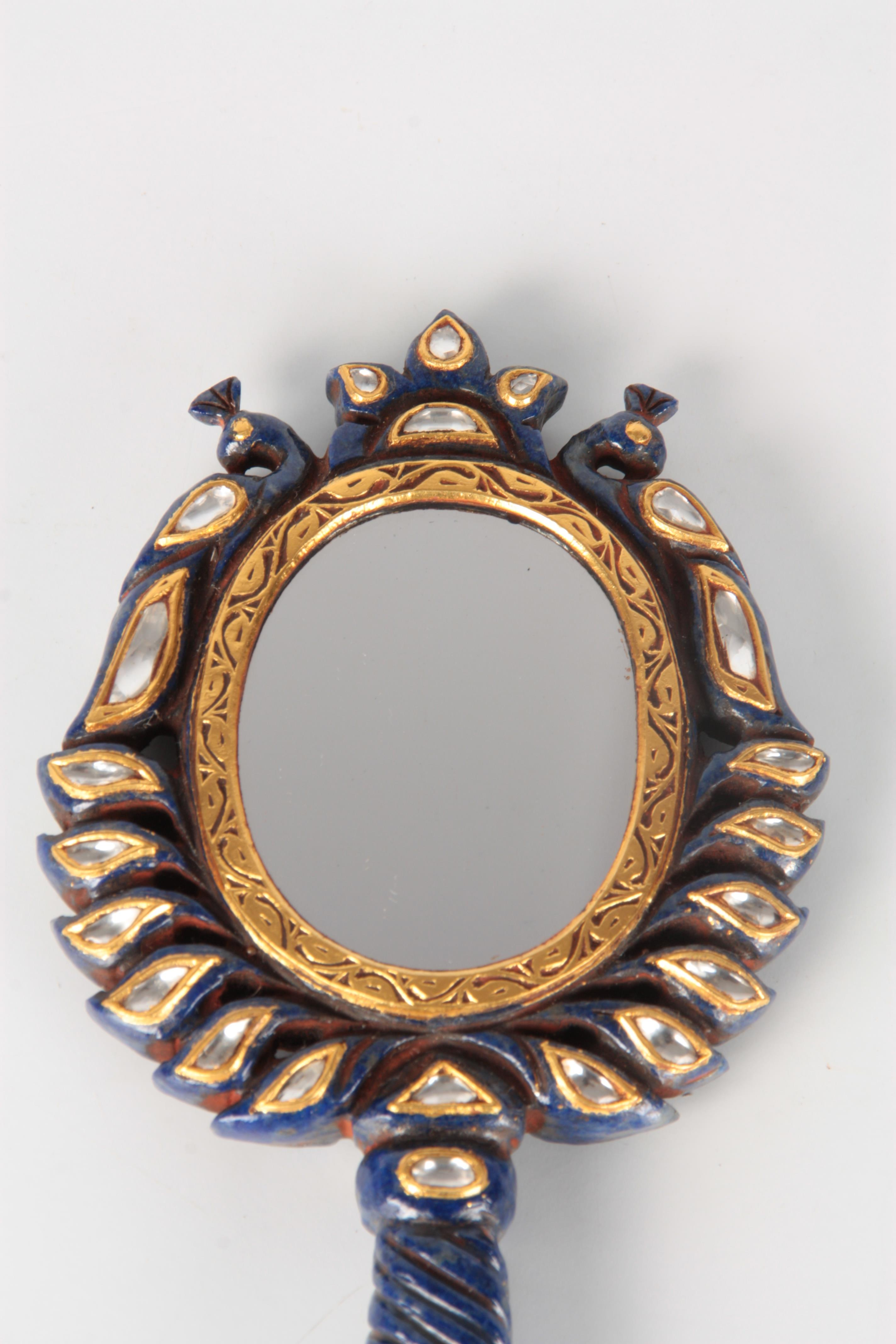 AN 20TH CENTURY LAPIS LAZULI AND DIAMOND SET CARVED HAND MIRROR the peacock and twisted handle - Image 2 of 6