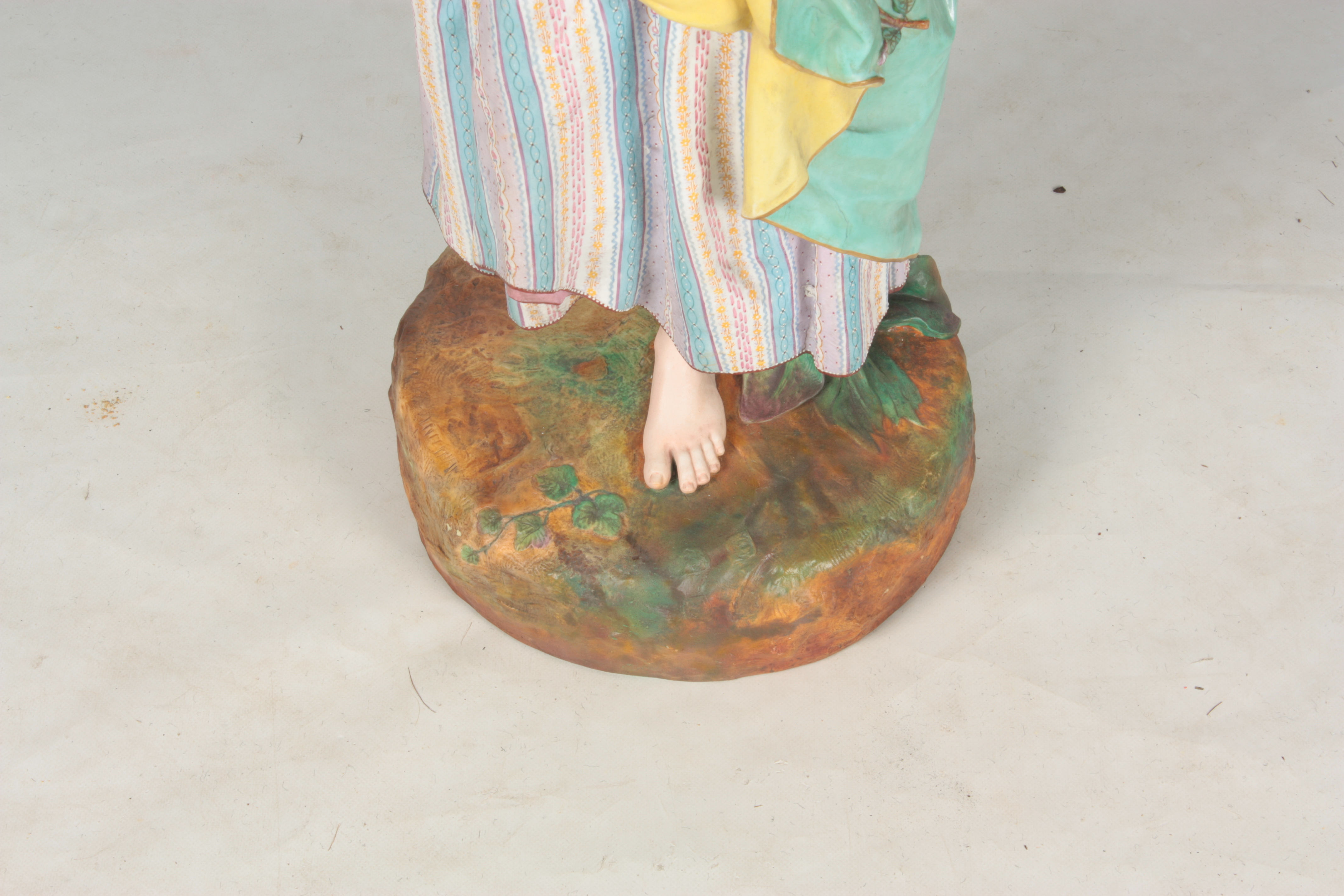 A 19TH CENTURY MASSIVE CONTINENTAL POLYCHROME STANDING BISQUE FIGURE OF A YOUNG LADY on a - Image 2 of 4