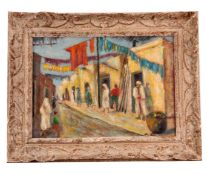 EARLY 20TH CENTURY OIL ON CANVAS Street scene in Marrakesh 27.5cm high, 39cm wide - indistinct