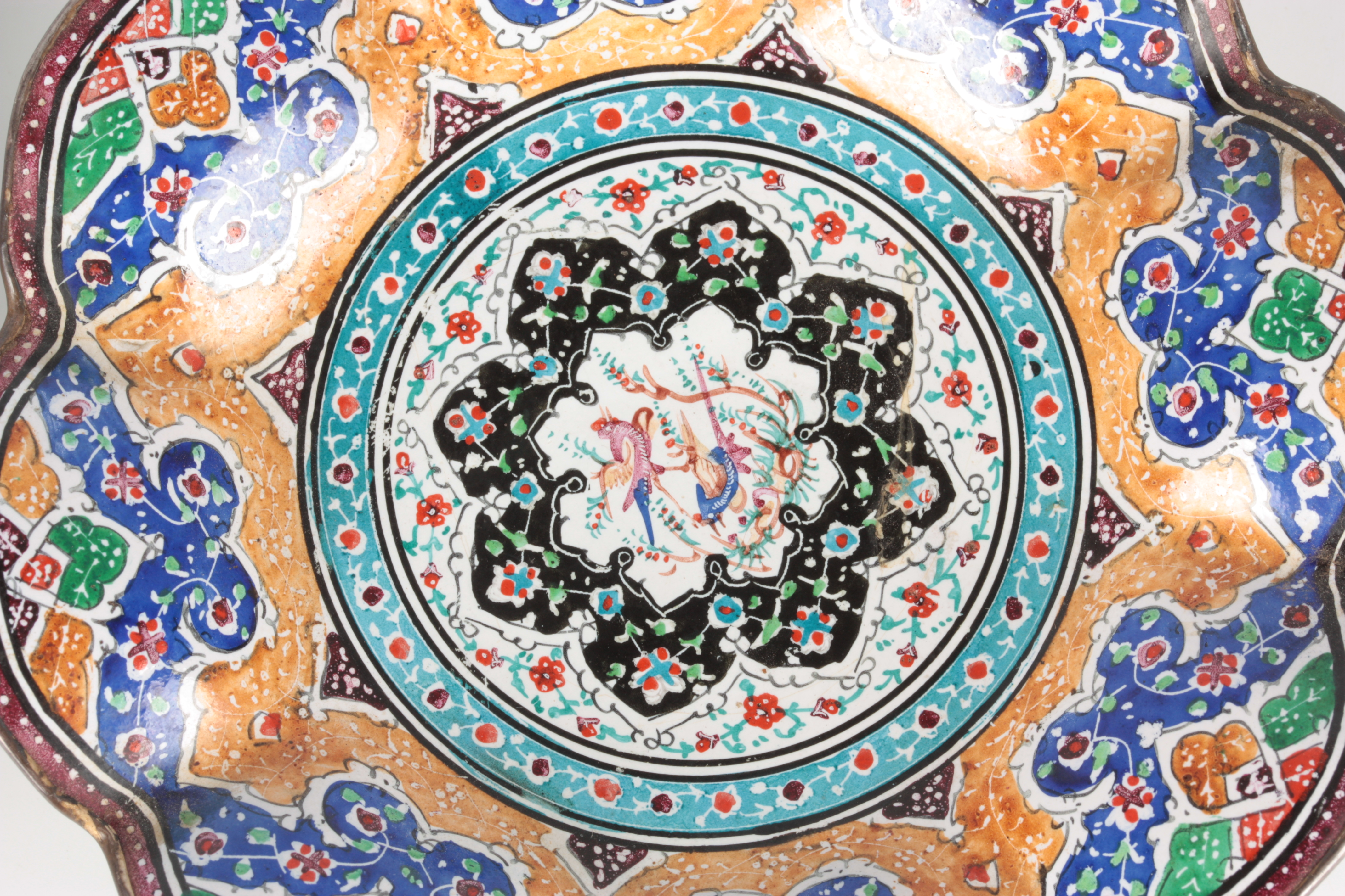 TWO 19TH CENTURY ISNIC ENAMELED DISHES having scalloped edges with birds, flowers, and geometric - Image 4 of 6