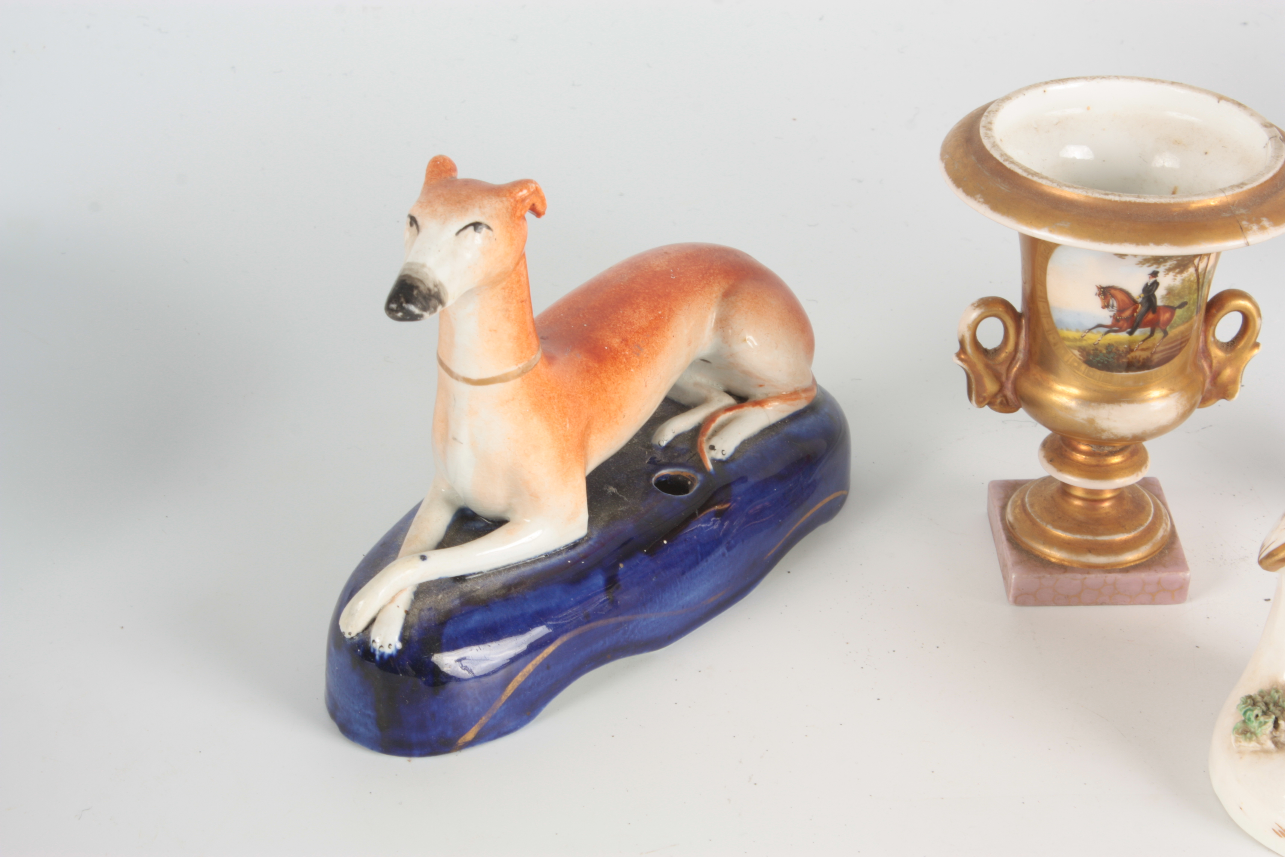 A 19TH CENTURY STAFFORDSHIRE FIGURE depicting a seated piper with dog at foot 12.5cm high A - Image 2 of 6