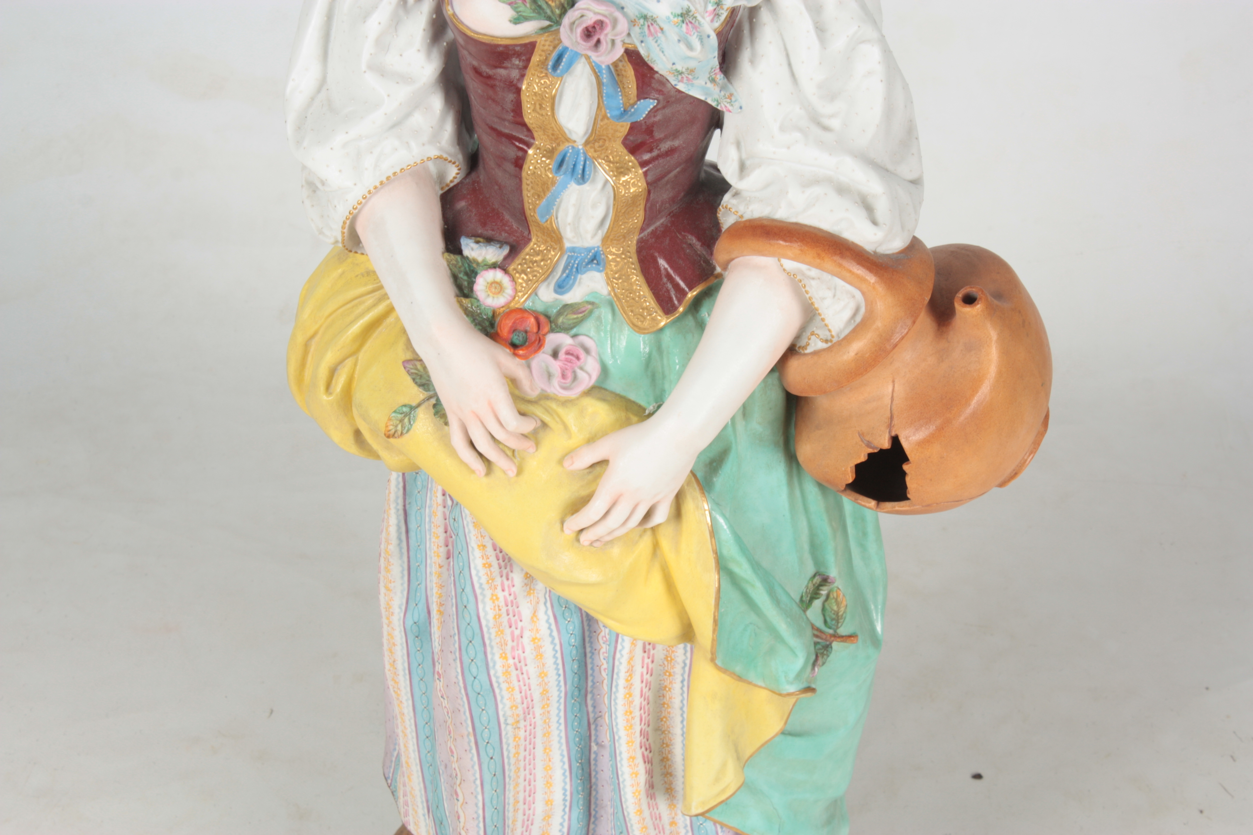 A 19TH CENTURY MASSIVE CONTINENTAL POLYCHROME STANDING BISQUE FIGURE OF A YOUNG LADY on a - Image 3 of 4