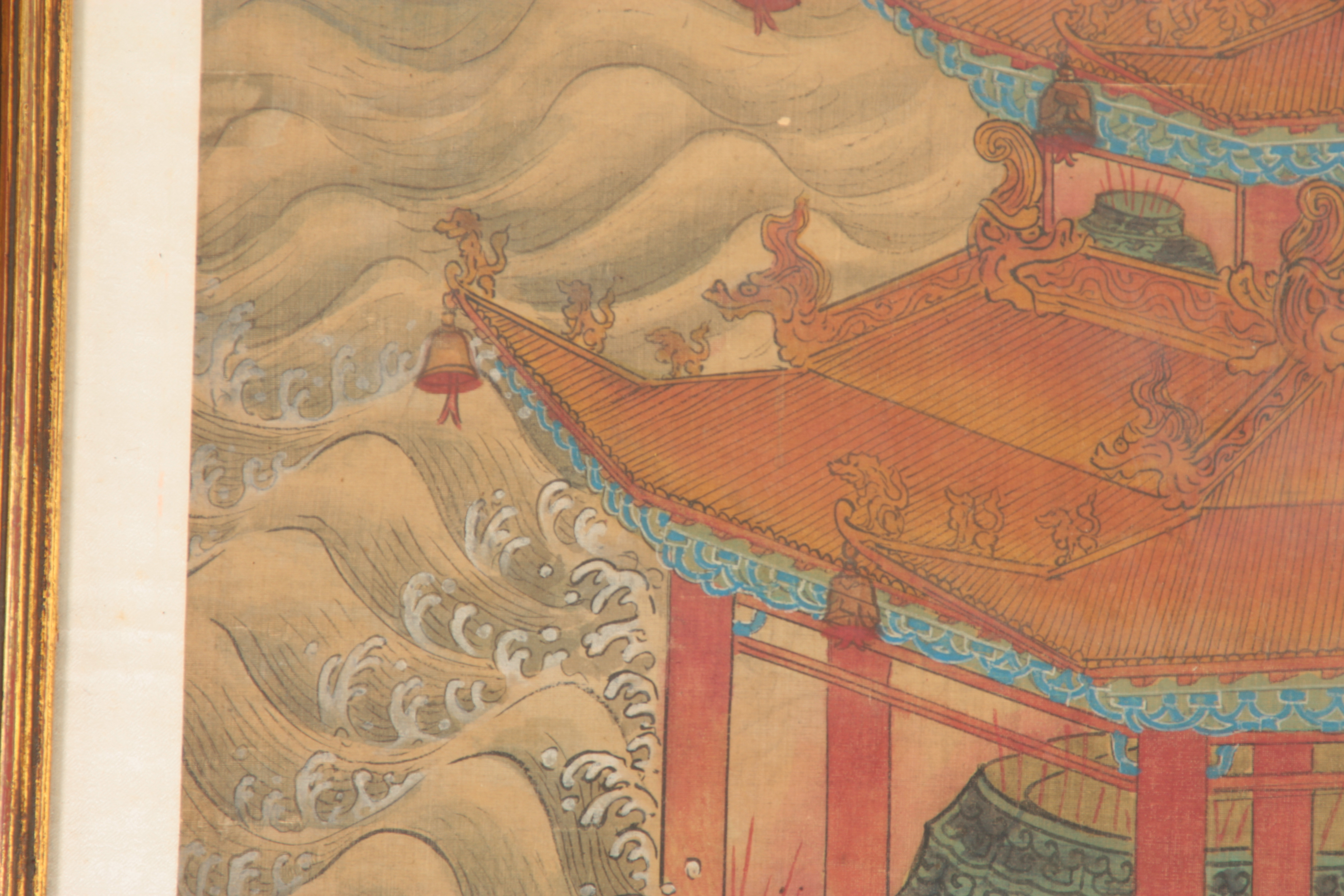 A LARGE 19TH CENTURY CHINESE PAINTED SILK PANEL finely decorated with figures and pagodas amongst - Image 6 of 9