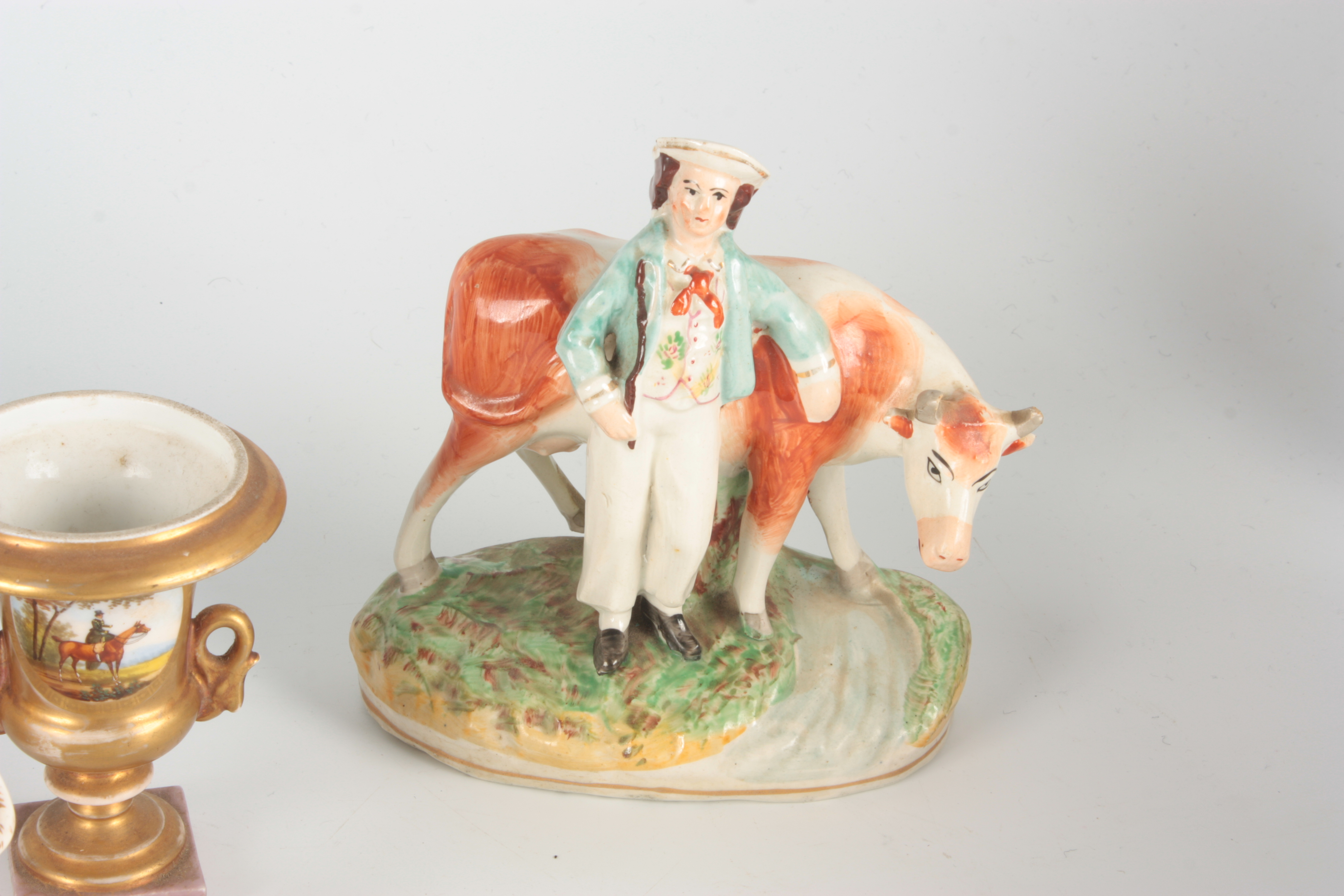 A 19TH CENTURY STAFFORDSHIRE FIGURE depicting a seated piper with dog at foot 12.5cm high A - Image 4 of 6