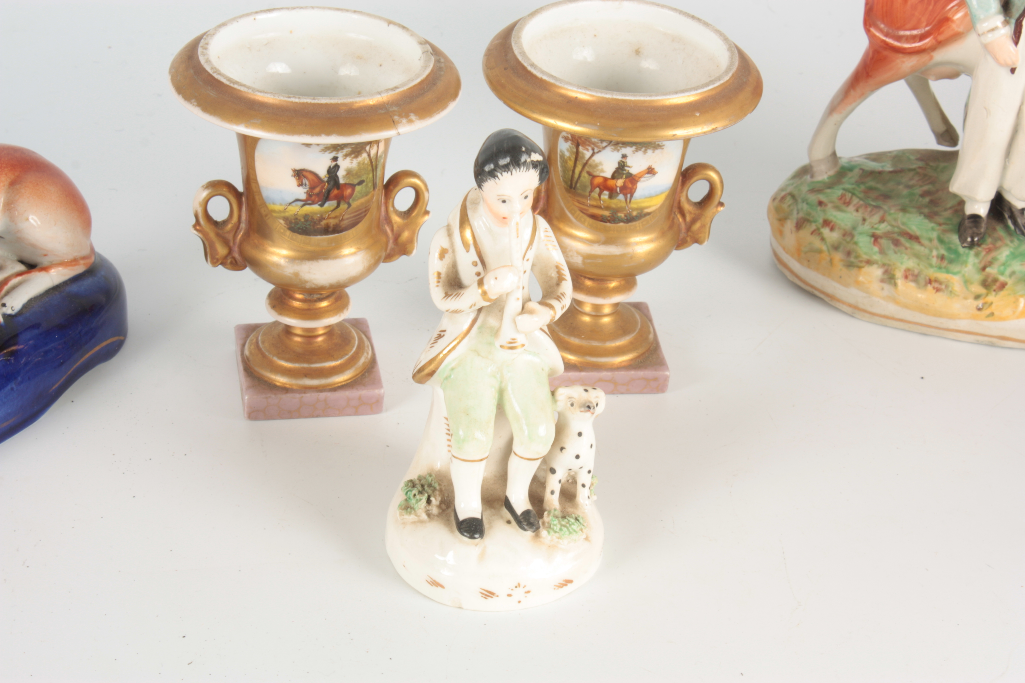 A 19TH CENTURY STAFFORDSHIRE FIGURE depicting a seated piper with dog at foot 12.5cm high A - Image 3 of 6