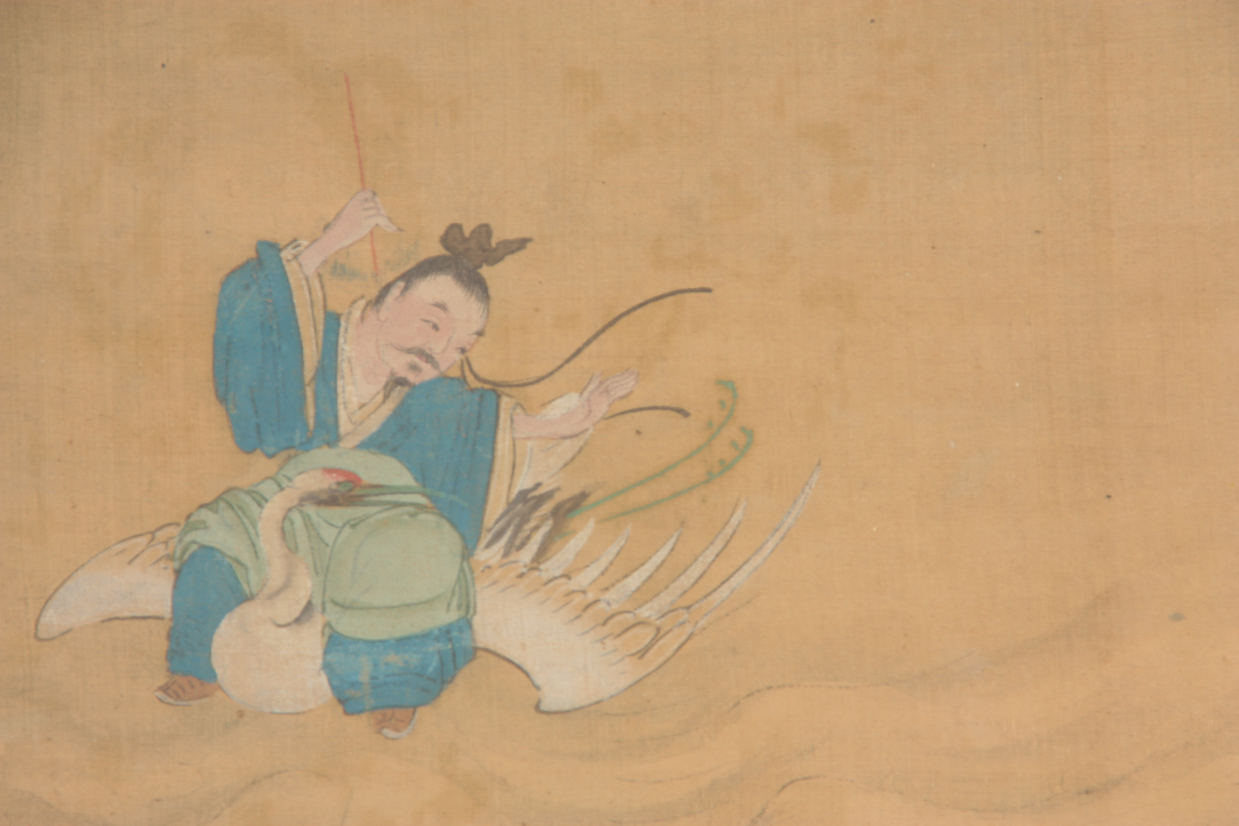 A LARGE 19TH CENTURY CHINESE PAINTED SILK PANEL finely decorated with figures and pagodas amongst - Image 8 of 9