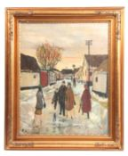 BORGE LUDWIG KNUDSEN A 20TH CENTURY OIL ON CANVAS depicting a town scene with figures in the