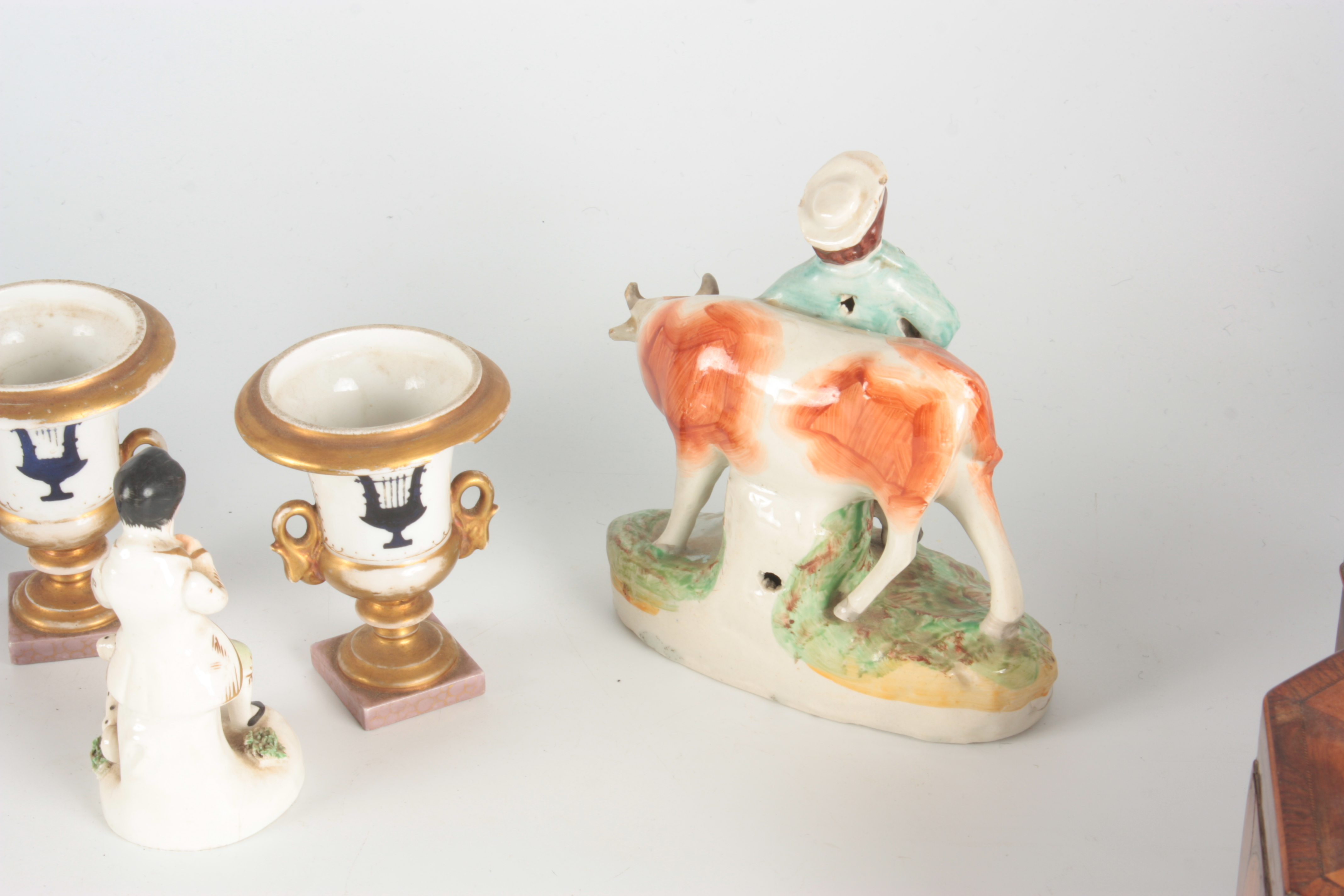 A 19TH CENTURY STAFFORDSHIRE FIGURE depicting a seated piper with dog at foot 12.5cm high A - Image 5 of 6