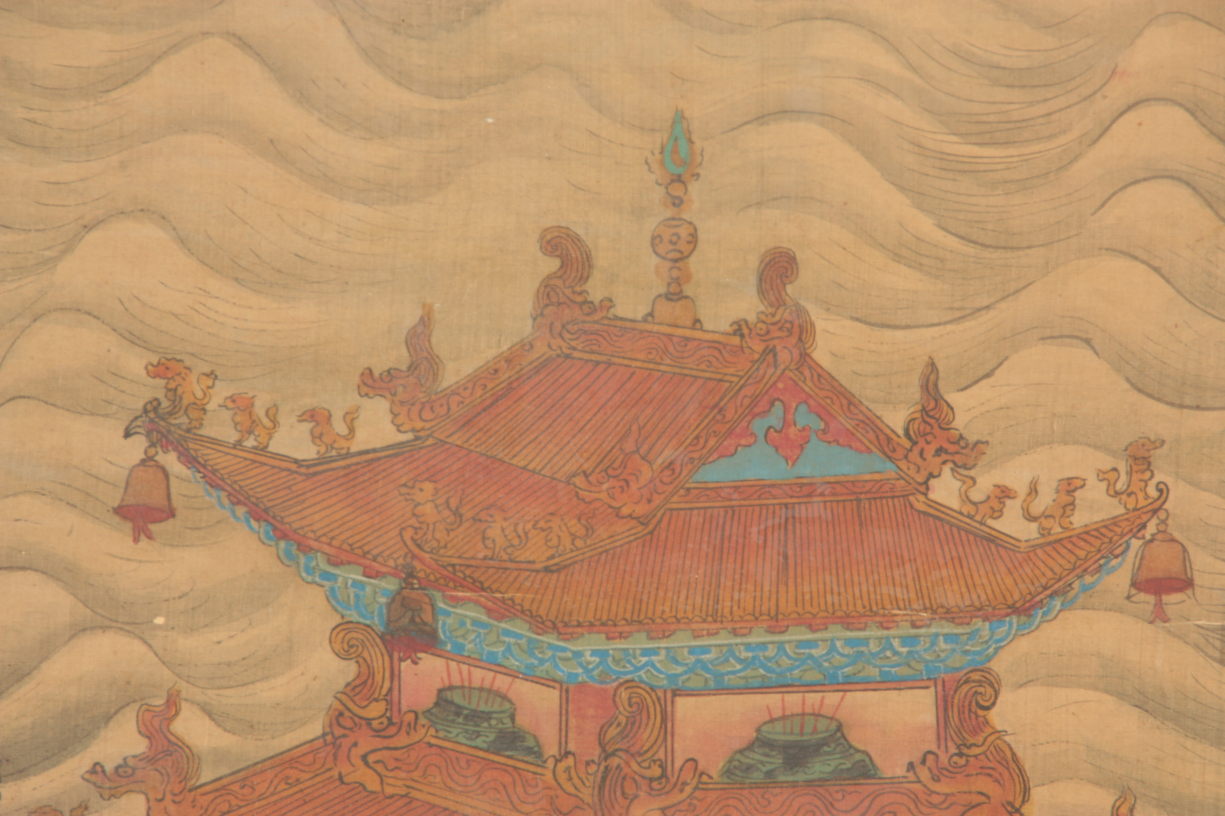A LARGE 19TH CENTURY CHINESE PAINTED SILK PANEL finely decorated with figures and pagodas amongst - Image 7 of 9
