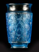 R LALIQUE, A BLUE STAINED 'DEAUVILLE' GLASS VASE of tapering dorm having concave top and bottom rim,