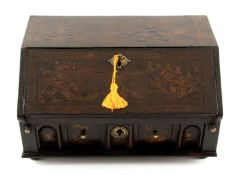 A WILLIAM AND MARY CHINOISERIE LACQUERED TABLE BUREAU with angled fall revealing a fitted stepped