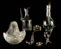A 19TH CENTURY FAIT MAIN FRENCH FOUR CHAMBER LIQUOR DECANTER WITH CORKED STOPPERS of footed