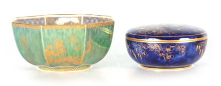AN EARLY 20TH CENTURY WEDGWOOD FAIRYLAND GREEN LUSTRE BOWL of octagonal form decorated with oriental