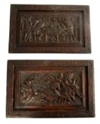 A PAIR OF 17TH CENTURY STYLE CARVED OAK PANELS depicting tavern and gambling scenes, 16.5cm high