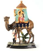 A LARGE 19TH CENTURY WILLIAM SCHILLER & SOHN MAJOLICA TOBACCO JAR in the form of a saddled camel,