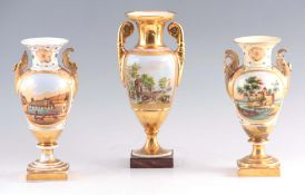 A MATCHED GARNTURE OF THREE 19TH CENTURY PARIS TYPE PORCELAIN VASES with two-handled gilt square