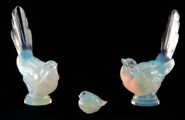 THREE SABINO PARIS GLASS OPALESCENT BIRDS two mockingbirds with embossed marks to the bases and