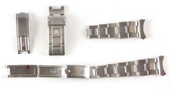 A VINTAGE STEEL ROLEX OYSTER BRACELET with expanding links and deployment clasp, together with a