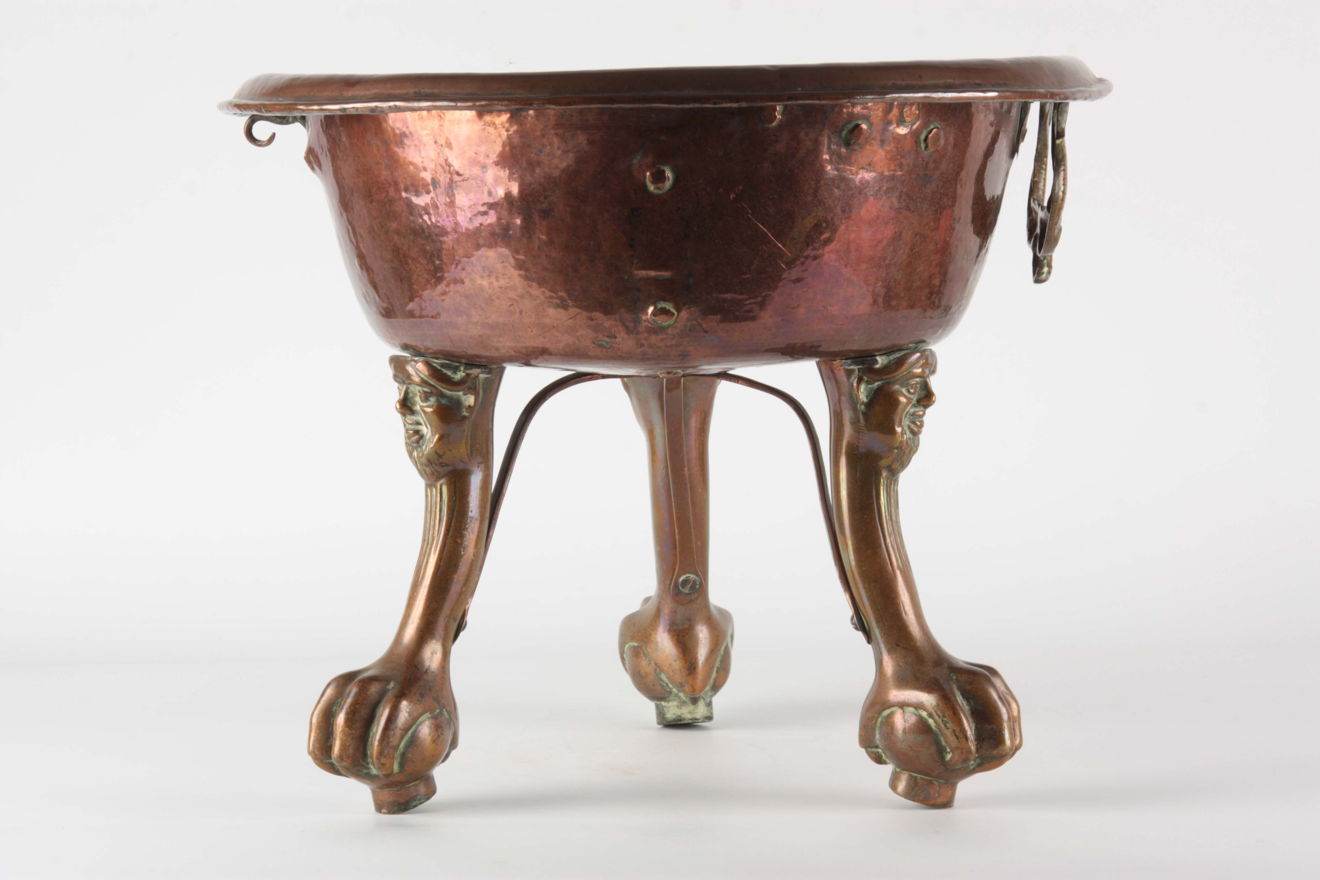 A 17TH CENTURY COPPER AND BRASS ITALIAN BRAZIER having a circular moulded top standing on mask - Image 6 of 6