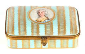 A LATE 19TH CENTURY FRENCH PORCELAIN DRESSING TABLE BOX with ormolu mounts on a turquoise ground