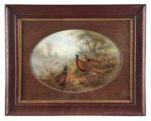 JAMES STINTON. A FINE ROYAL WORCESTER LARGE FRAMED OVAL PORCELAIN PLAQUE painted with cock and hen