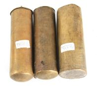 A SET OF THREE 18TH CENTURY BRASS CASED LONGCASE CLOCK WEIGHTS two weigh 13lb.1oz each the larger