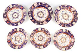 A 19TH CENTURY ASHWORTH BROs REAL IRONSTONE CHINA PART DINNER SERVICE comprising five plates of