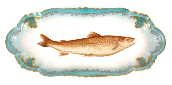 A LARGE LATE 19TH CENTURY FRENCH LIMOGES FISH PLATE with blue shaped border and gilt floral
