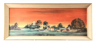 MICHAEL DAVID BARNFATHER BORN 1934 PRINT of a panoramic village scene at sunset, titled -