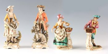 A PAIR OF CONTINENTAL MEISSEN STYLE SHEPHERD AND SHEPHERDESS FIGURES wearing detailed classical