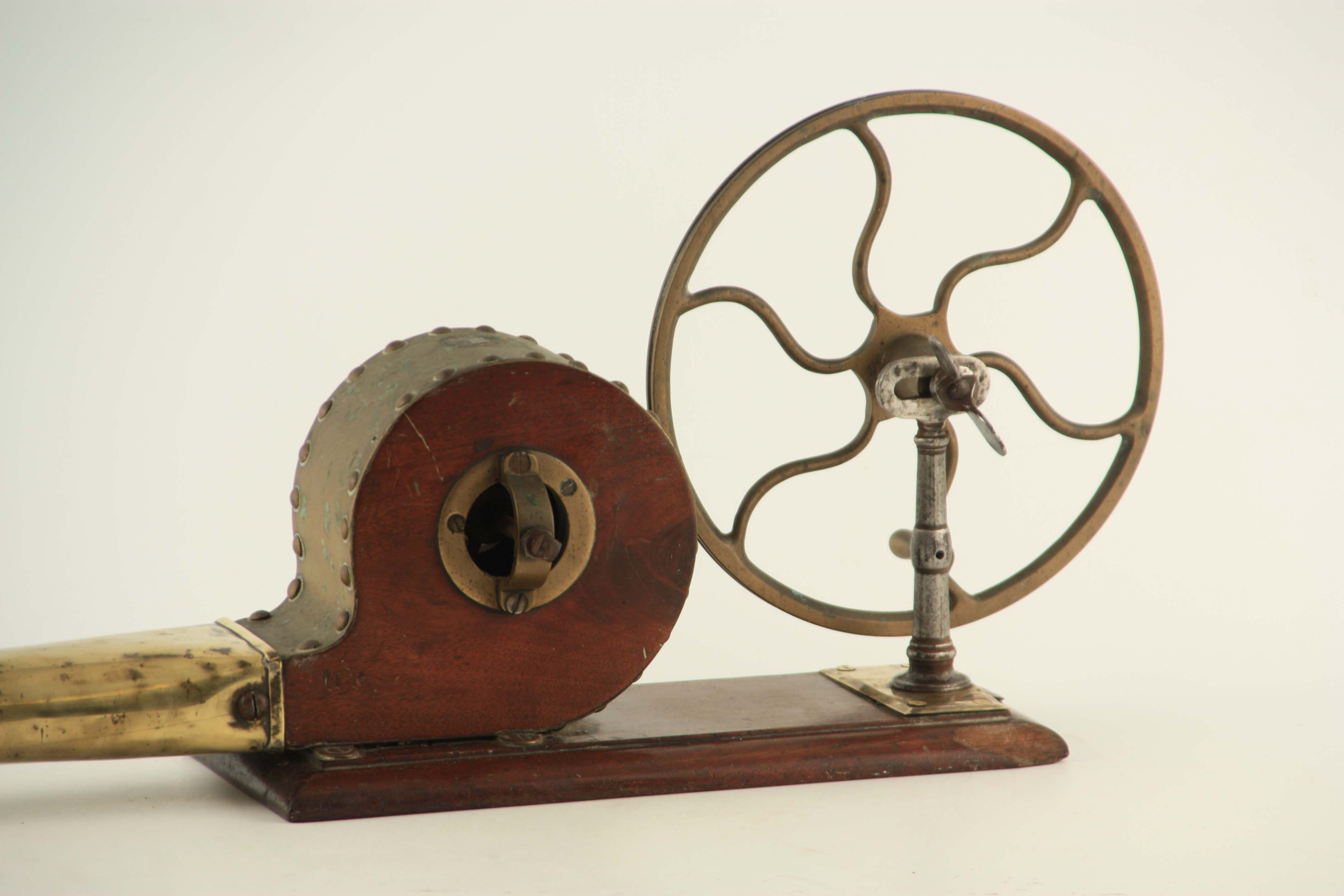 AN EARLY 19TH CENTURY SET OF FIRE BELLOWS with six spoke wheel and funnel, mounted on a mahogany - Image 2 of 3