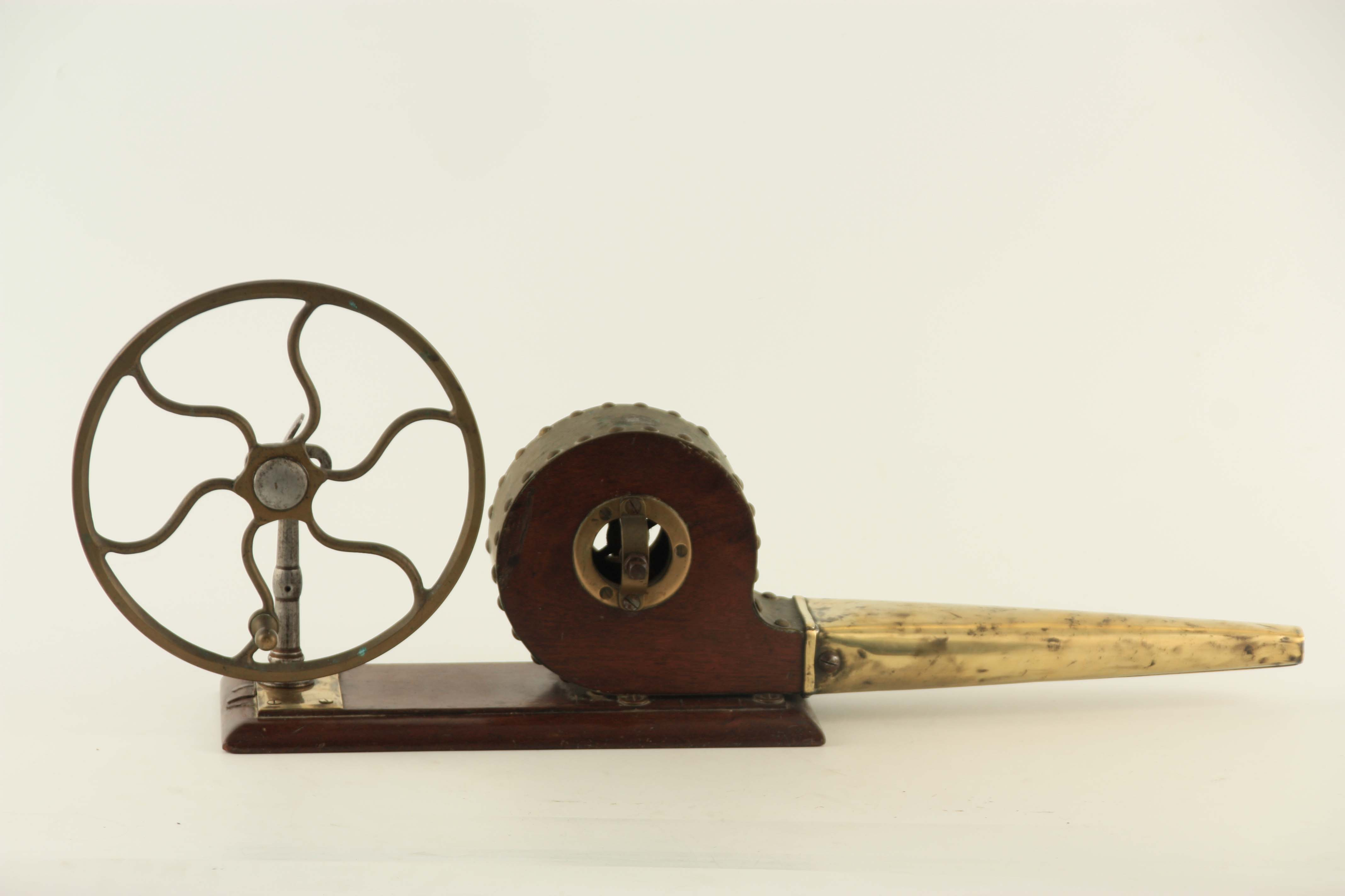 AN EARLY 19TH CENTURY SET OF FIRE BELLOWS with six spoke wheel and funnel, mounted on a mahogany - Image 3 of 3