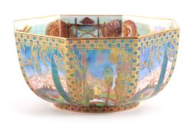 A WEDGWOOD FAIRYLAND LUSTRE FOOTED OCTAGONAL BOWL AFTER DESIGNS BY DAISY MAKEIG JONES finely