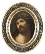A LARGE LATE 19TH CENTURY KPM BERLIN OVAL PORCELAIN PLAQUE AFTER GUIDO RENI depicting Christ with