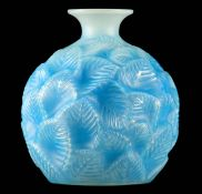 R LALIQUE, AN OPALESCENT AND BLUE STAINED 'ORMEAUX' GLASS VASE of globular form covered in leaves