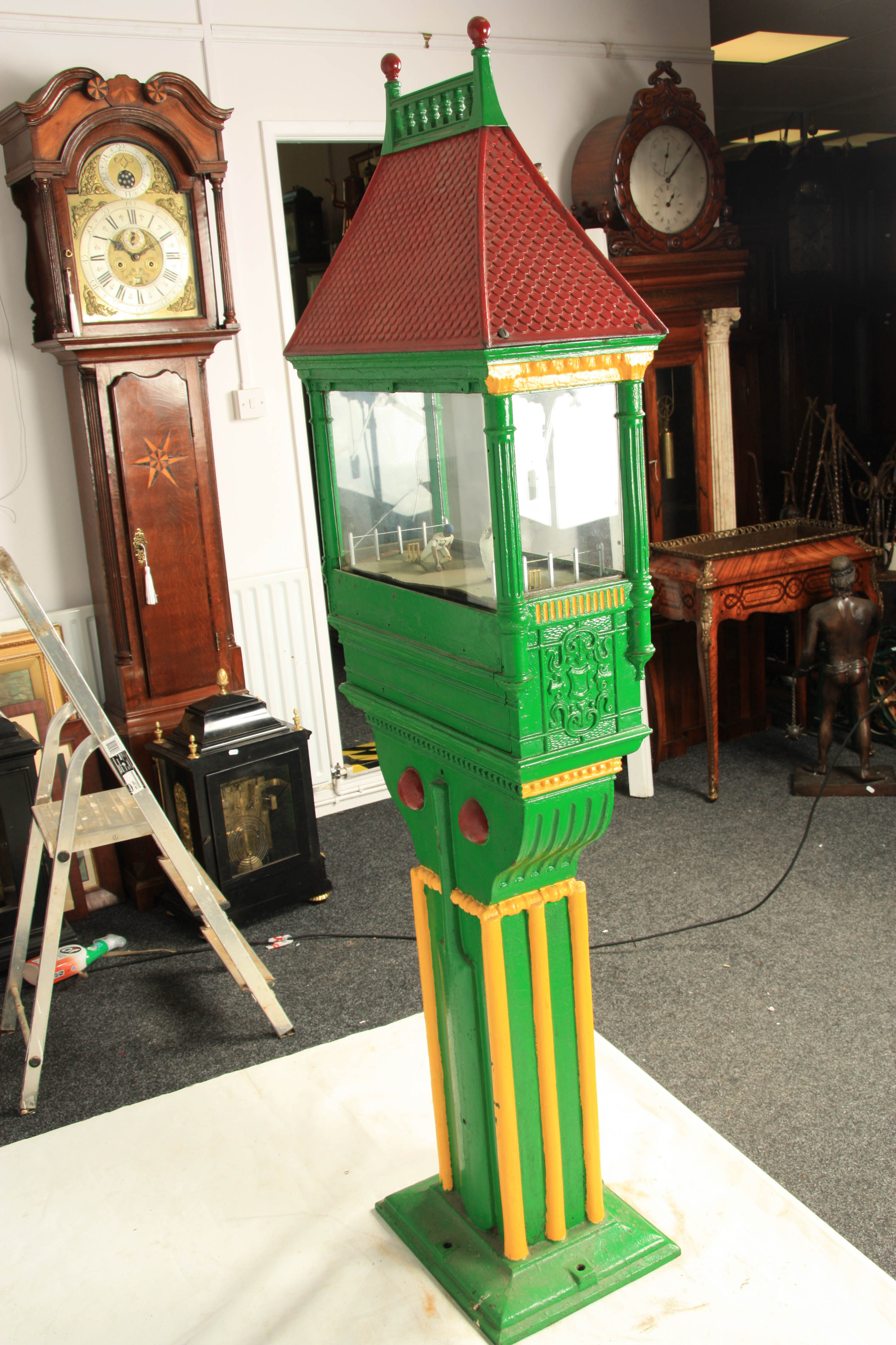 A LATE 19TH CENTURY PAINTED CAST IRON 'PENNY IN THE SLOT' CRICKET ARCADE MACHINE with tile effect - Image 13 of 14