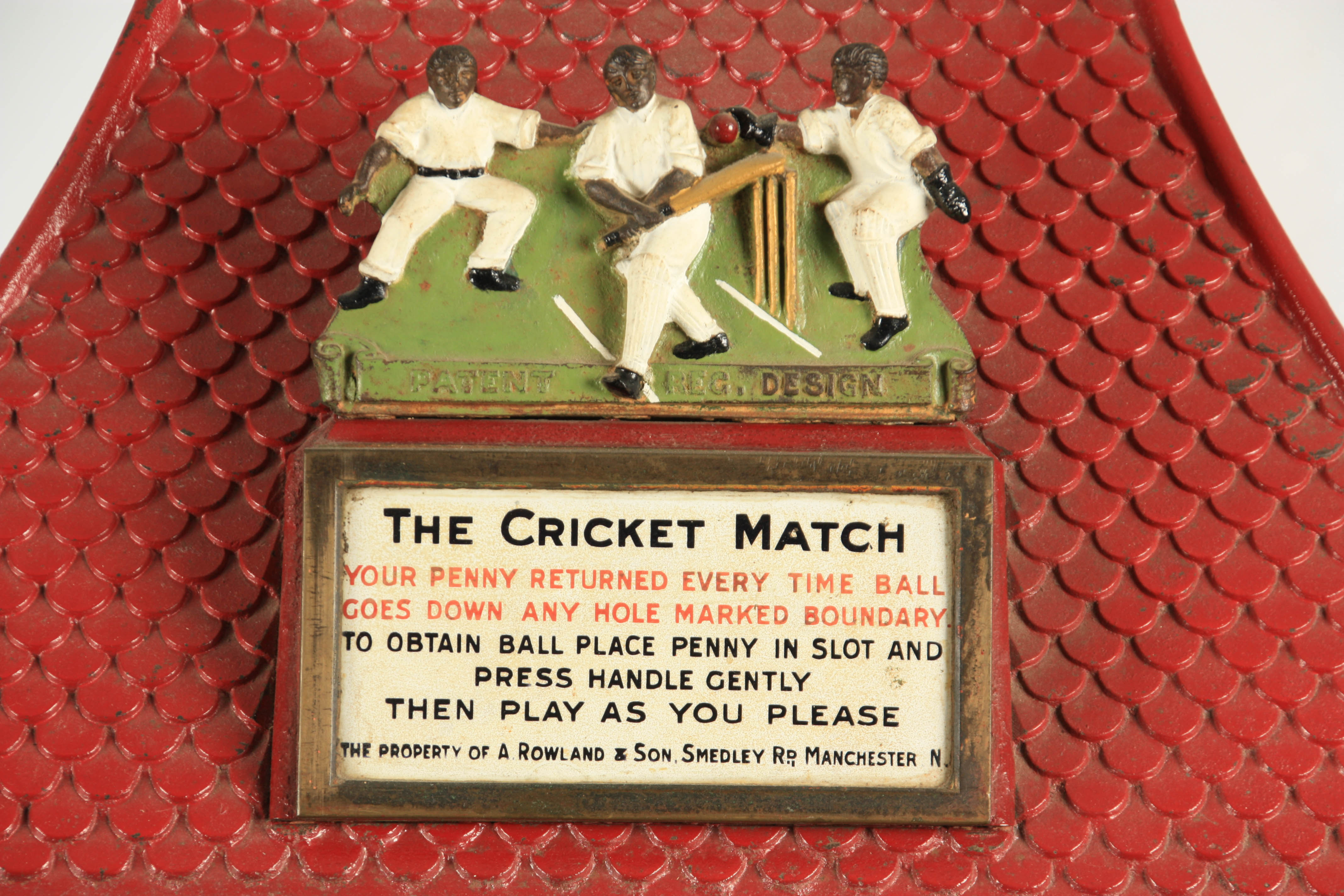 A LATE 19TH CENTURY PAINTED CAST IRON 'PENNY IN THE SLOT' CRICKET ARCADE MACHINE with tile effect - Image 6 of 14
